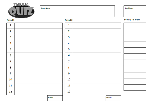 Quiz Sheets – Free To Download Quiz Sheet Templates | Quiz Prep